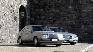 Una Mercedes 200 e una Classe E.