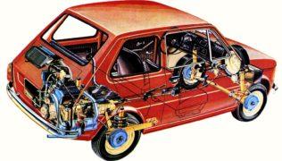 Fiat 126. Meccanica progettata da Dante Giacosa.Fiat 126. Meccanica progettata da Dante Giacosa.
