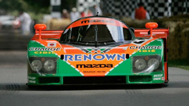 La Mazda 787B vincitrice a Le Mans nel 1991.