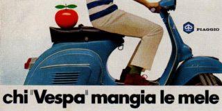 """La pubblicità """"Chi Vespa mangia le mele""""."""