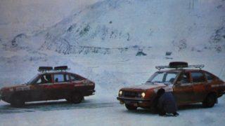 Le due Lancia Beta durante il raid verso Capo Nord.