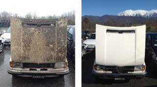 Prima e dopo il lavaggio.