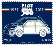 Il francobollo della Fiat 500 che celebra i 60 anni della automobile Fiat.